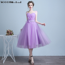 SOCCI Weekend Lavender Cocktail Dresses Sweetheart Tulle Sleeveless Charming Homecoming Graduation Tea Length vestido de Dress(China)