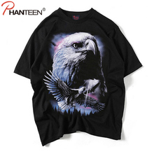 Phanteen Summer Short Sleeve Man Cotton T Shirts Hiphop Rock And Roll Style T-shirts Eagle Wolf Skull Print Fashion Men Clothing