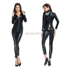 Buy XXL Lady Sexy Leather Latex Zentai Catsuit Smooth Wetlook Jumpsuit Front Zipper Elastic Valentine's Day Party Clubwear