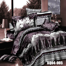 Hot Sale 3D Print Wolf Bedding Sets Queen Size King Size Duvet Cover Set Wolves Animal Bedding Solid Color(China)