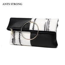 ANTS STRONG patchwork chains evening bags/Snake striae fold envelope cortex messenger bag day cluthes(China)