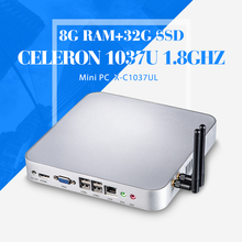 The cheapest desktop computer case C1037U 8g ram 32g ssd+wifi desktop pc support full screen movies mini pc thin client(China)