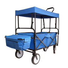 (Ship from Germany) Utility Collapsible Mac Sports Folding Wagon Toy Garden Buggy Shopping Beach Storage Baskets Cart w/Canopy