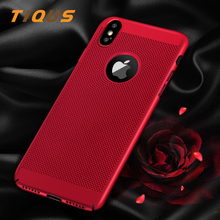 TIQUS Case For iPhone X 7 6 6s Plus Heat Dissipation Breathe Phone Case For iPhone 7 8 PLus Back PC Protect Plastic Cover shell(China)