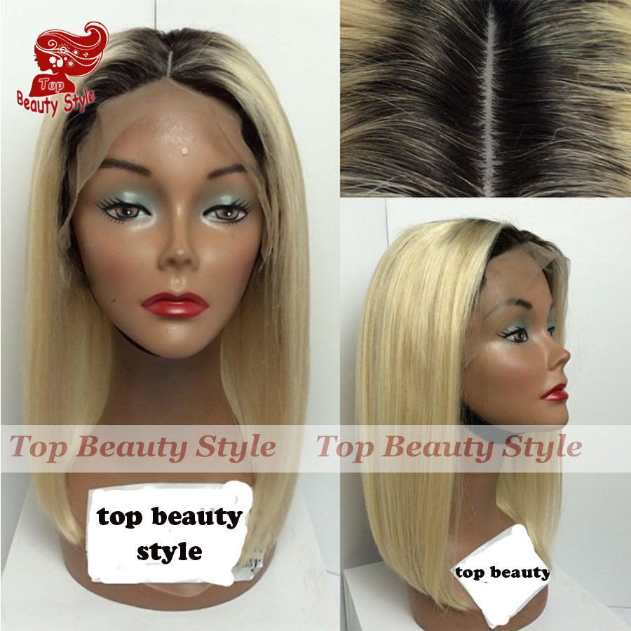 Cheap Synthetic Wig Lace Front Straight Glueless Ombre Two Tone Color Black Blonde Short Bob Hair Synthetic Hair Wigs For Women<br><br>Aliexpress