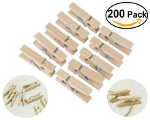 OUNONA 200pcs/Set Natural Wood Clothespins with Spring 3.5cm Clothes Pins with 2pcs 5M Hemp Ropes
