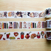 Free shipping 30mm*7m high quality washi paper tape/Beautiful Cat and Book and  Refreshment  masking japan washi tape