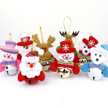 Christmas Bells Dolls Tree Ornaments Gold/Multicolor Santa Claus Bear Snowman Elk Xmas Tree Decorations Party Supplies