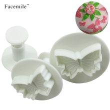 3PCS Facemile Plastic Butterfly Cake Biscuit Fondant Decorating Cookie Plunger Cutter DIY Christmas Baking Mold Decorating 01061(China)