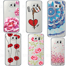 Heart Flower Pattern New Arrival For Samsung S7 S6 S4 Fashion Mandala Transparent Silicone Soft TPU Popular Phone Covers(China)