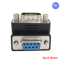 DSUB D-SUB RS232 9PIN MALE TO FEMALE UP & Down RIGHT ANGLED 90 DEGREE EXTENSION ADAPTER connector(China)