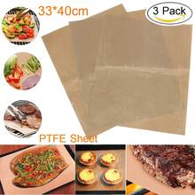 Non-Stick Reusable PTFE Cookies Steak Baking Mat Outdoor BBQ Camping Cooking Tools Kit Kitchen Accessories 33x40cm 3Pcs/Pack(China)