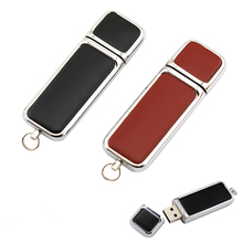 Fashion leather pendrive 128gb USB Flash Drive Memory Stick/thumb classic steel U Disk 4gb 8g 16g 32g 64g Pendrive U disk(China)
