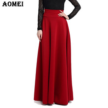 S M L 5XL New High Waist Pleat Elegant Skirt Wine Red Black Solid Color Long Skirts Women Faldas Saia 5XL Plus Size Ladies Jupe(China)