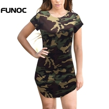 Funoc Camouflage Dresses Women Summer Dress Short Sleeve Sexy Mini Dresses women Gree Print Plus Size Woman Irregular Vestidos(China)
