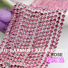 10yards Silver base Rose Color SS6 ss8 ss10 ss12 intensive Strass style diy crystal chain sew on rhinestones chain cup chain SOW