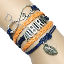 Drop Shipping Dark Blue with Orange Leather Rope Infinity Love Auburn University School Football Team Bracelet