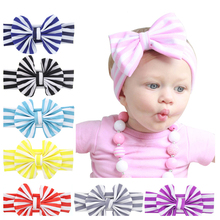 Hot Sale Baby Girl Striped Knot Headband Kids Turban Knitted Hair Accessories Children Cross Headwear  180