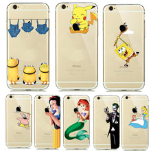 Cute Cartoon Pokemons Go Pikachue Case for coque iphone 7 8 Plus 6S 5S SE Soft Transparent Cover Mermaid Minion Case Accessories