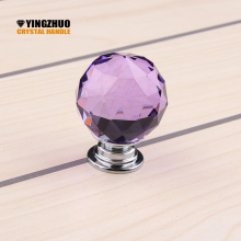 2017 Puxadores Kitchen Handles Modern Ball 30mm Purple Crystal Pull Handle Knob Drawer Cabinet Cupboard Furniture Hardware Door(China)