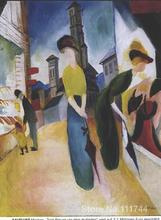 abstract landscape painting Two women in front of a hat shop August Macke decorative art Hand painted High quality(China)