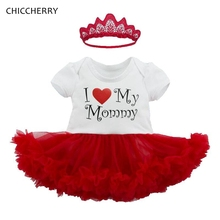 I Love My Mommy Baby Girl Clothes Lace Romper Dress Headband Newborn Tutu Sets Happy Mother's Day Toddler Outfit Infant Clothing(China)