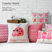 Nordic style Nordic style PINK LOVE design Cushion cover for Pillow/cushion Cotton and linen materials without pillow inner 02(China)