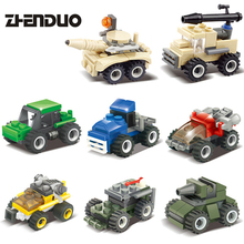 ZhenDuo 23 Pcs Small Particle Building Blocks Army Car Tank Model Building Bricks Assembly Puzzle Toy for Children Hobbies(China)
