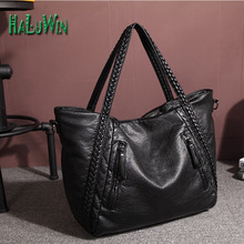 Haluwin fashion women handbag casual tote style big good quality shopping bag solid bag versatile leather shoulder bag factory