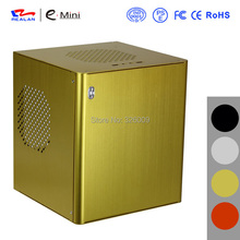 HTPC mini-ITX Chassis, aluminum, USB3.0, 3.5''HDD, Support Stand Power, mini case of HTPC, WIFI COM PCI Audio Ports, Realan D3(China)