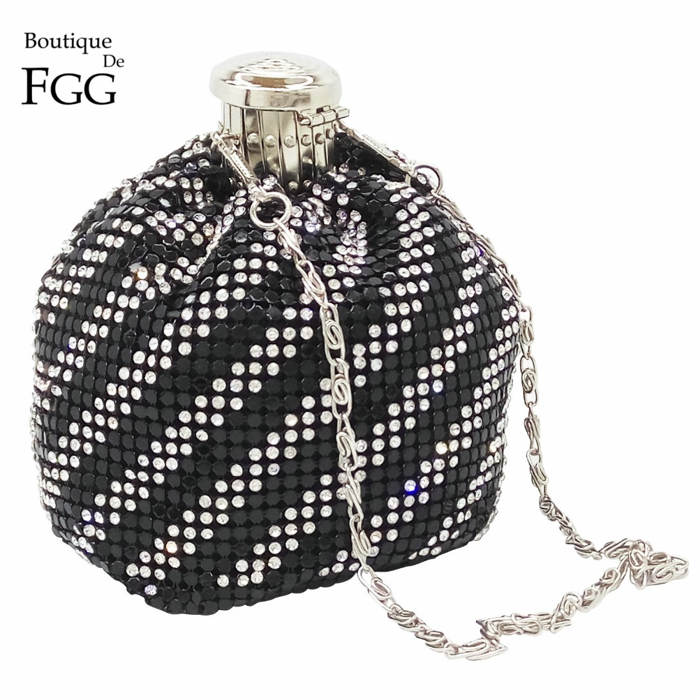 Silver Plated Clear &amp; Black Crystal Striped Women Aluminum Mini Coin Purses Long Metal Chains Shoulder Bags Evening Party Clutch<br><br>Aliexpress