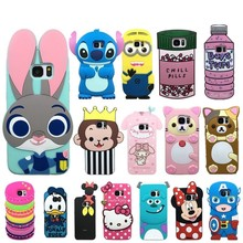 Case for samsung galaxy S7 edge silicone cartoon case cover for galaxy S7 S6 soft rubber 3d cute rabbit hello kitty phone cases(China)