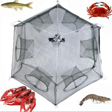 Folded Portable Hexagon 6 Hole 80 * 80cm Automatic Fishing Shrimp Trap Fishing Net Fish Shrimp Minnow Crab Baits Cast Mesh Trap