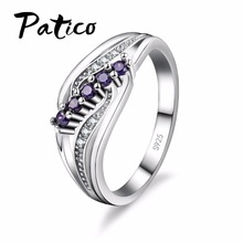 PATICO Luxuriant Bohemia Style Attractive Design Jewelry Purple AAA Crystal 925 Sterling Silver Ring Wholesale Free Shipping