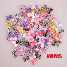 100pcs Bowknot Design 3D Resin Charms DIY Studs False Nails Art Ideas Facile Arts Crafts Accessories @ME88(China)