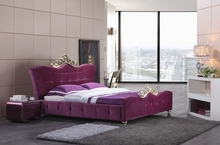 diamond tufted French contemporary modern velvet fabric sleeping bed King size bedroom furniture Made in China