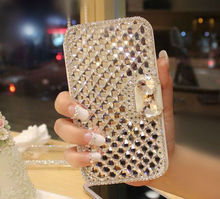 For ZTE V6 plus Case Luxury  Bling Crystal Diamond Rhinestone White PU Leather  Wallet Case Cover For ZTE Blade V7 Lite