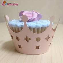 2017 New  50Pcs Cupcake Wrappers Laser Cutting Imperial Crown For Girls Birthday Party Decoration Kid Party Supplies Baby Shower