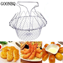 GOONBQ  1 pc Food Frying Basket Stainless Steel Vegetable Foldable Steam Strain Fry French Chef  Magic Basket Mesh Strainer Net