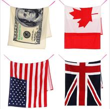 "Fashion American Flag Bath Towel Cotton 70x140cm 27""x55"" US, UK, CA Flag Pattern Swimming Pool Beach Sauna Towel Wrap Shawl"