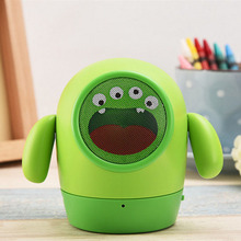 20PCS cute Mini Mung Bean bluetooth speaker portable green monster TF Handsfree call cartoon kid gift caixa de som altavoz child
