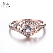 HELON  6mm Round Shape 0.81ct Morganite Solid 14K Rose Gold Real Natural Diamonds Ring Engagement Wedding Women's Jewelry Ring