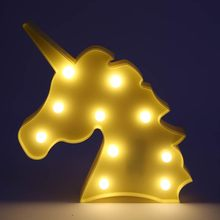 Cute Lovely Unicorn Head Night Light On The Wall For Children's Party Room Decoration  Lamps Led Marquise Animals Children Gifts