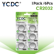 6pcs/1Cards YCDC CR2032 Lithium Button Batteries DL2032 ECR2032 BR2032 Coin Cell Battery 3V CR 2032 For Watch Electronic Remote(China)