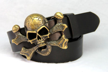 Real Genuine Leather Punk Belts For Men Skull Rock Men Belt Cross Rivet Stud Mens Belts00008(China)