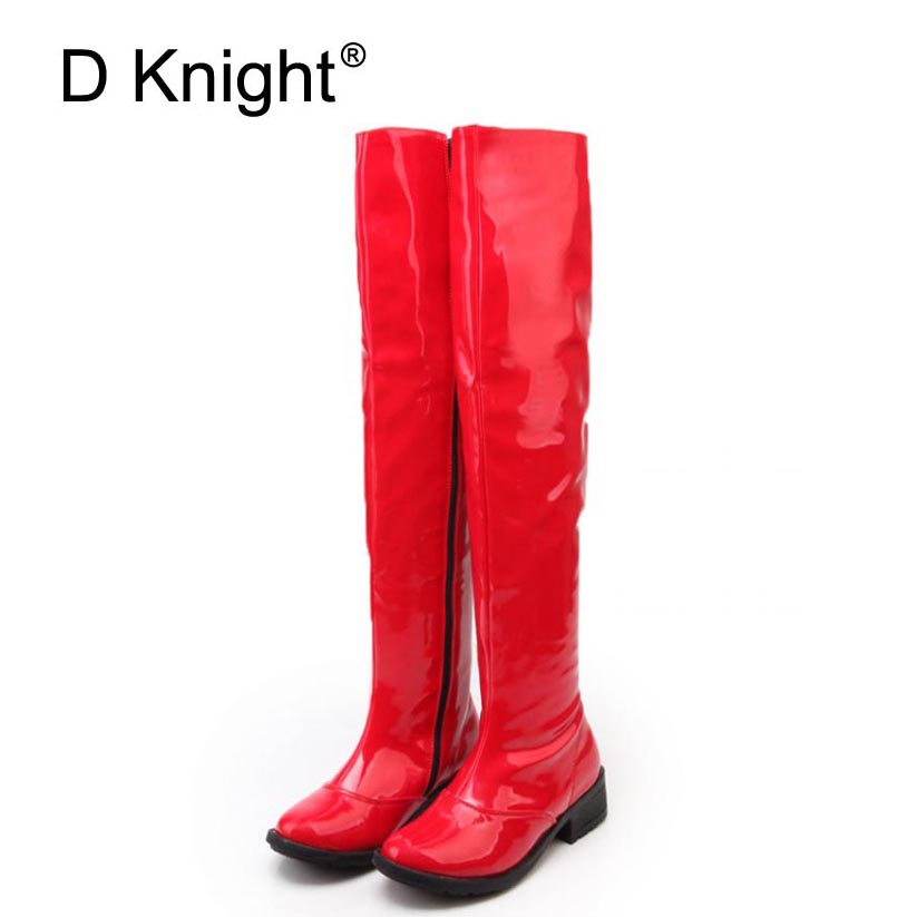 Sexy Patent Leather Over The Knee Boots For Women New Round Toe Side Zip Women Flat Riding Boots Ladies Steel Pole Dance Boots<br>