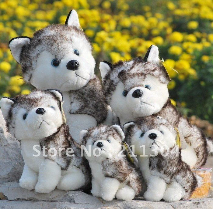 1 Piece Retail(not 1 set) Free Shipping Hotsale puppy Plush Toy 13 Sitting super cute and vivid Husky dog --XL size<br><br>Aliexpress
