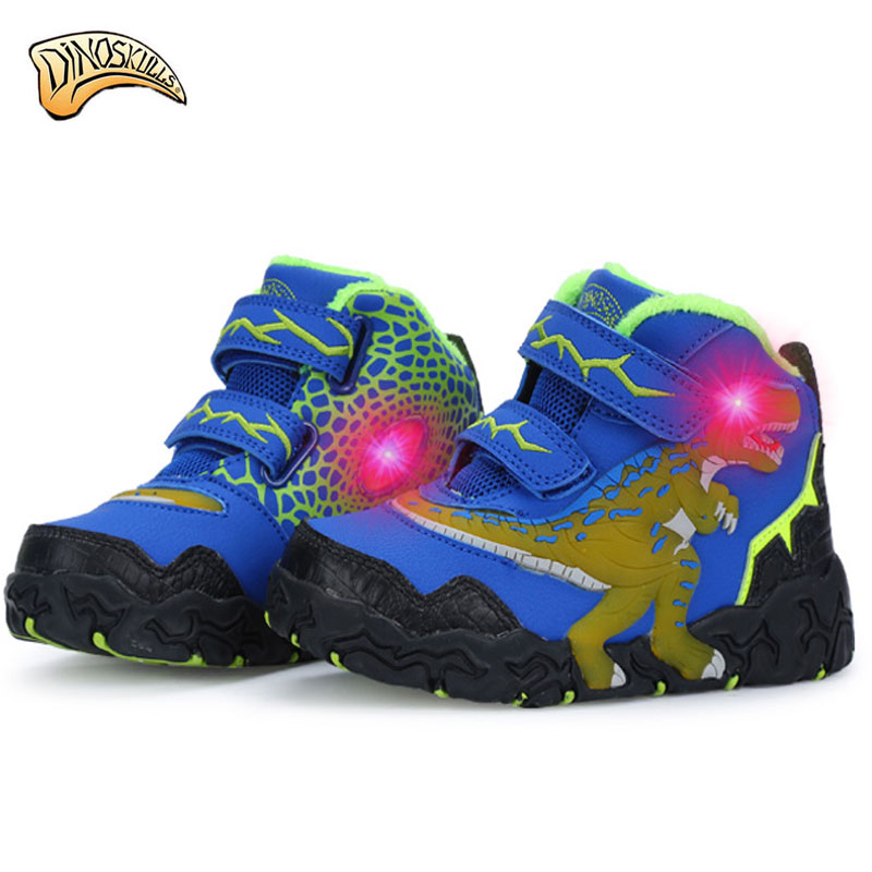 Dinoskulls kids sneakers brand lights for boys led shoes luminous 2017 Breathable sport shoes tenis infantil 3D dinosaur shoes<br>