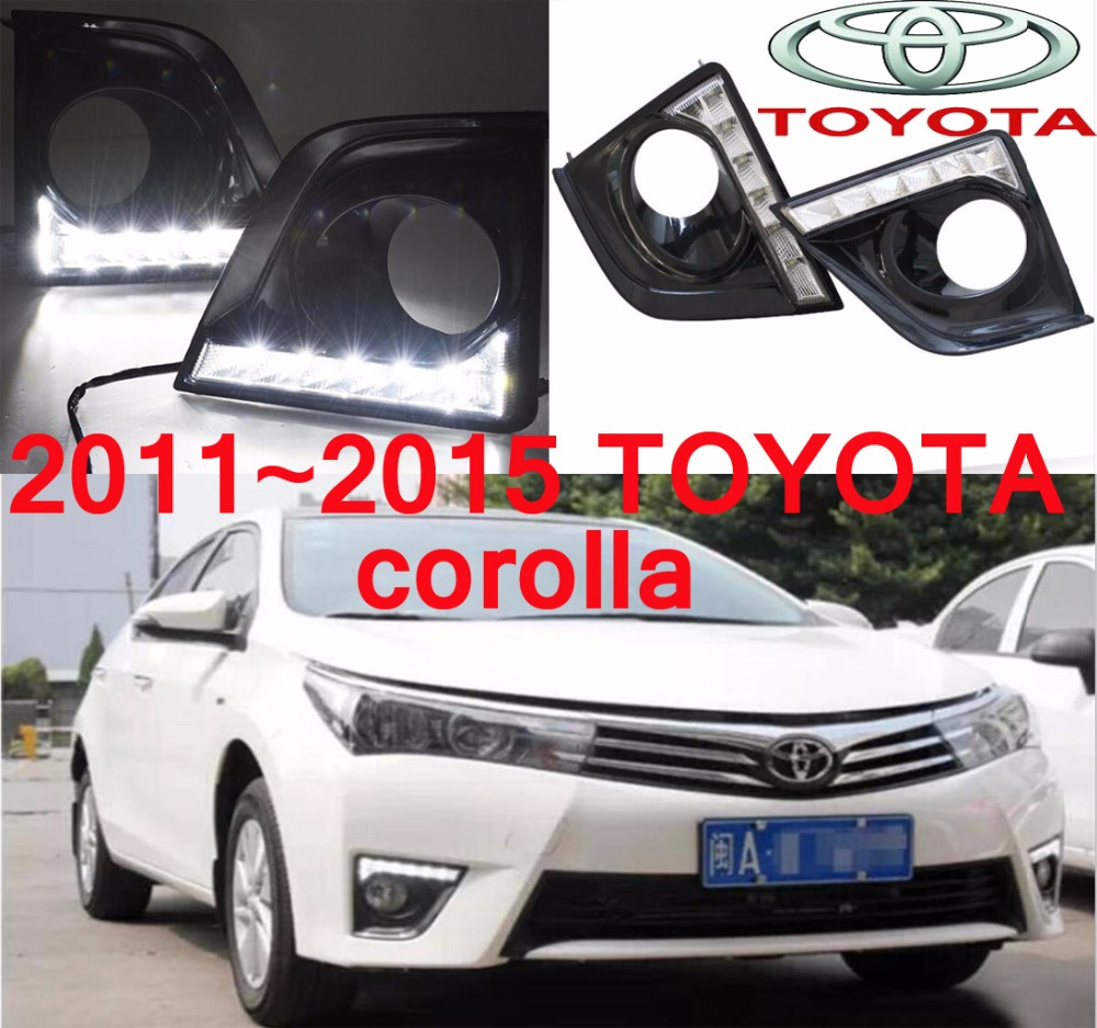 car-styling,2014~2015 Corolla daytime light,led,2pcs/set,corolla fog light;car-covers,chrome,corolla<br>