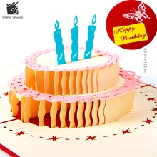 Happy Birthday Cake 3D laser cut pop up paper handmade postcards custom greeting cards wishes gifts for lover 7001R